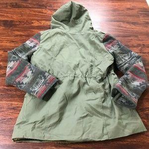RUFF HEWN Full Zip Up Green Hooded Jacket